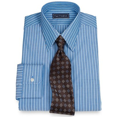 100 cotton stripe straight collar dress shirt from paul Straight collar dress shirt