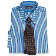 100 Cotton Stripe Straight Collar Dress Shirt $60.00 AT vintagedancer.com