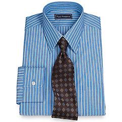 100 Cotton Stripe Straight Collar Dress Shirt $30.00 AT vintagedancer.com