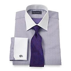 2-Ply Cotton Herringbone Spread Collar French Cuff Dress Shirt $65.00 AT vintagedancer.com