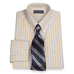 2-Ply Cotton Check Button Down Collar Dress Shirt $60.00 AT vintagedancer.com
