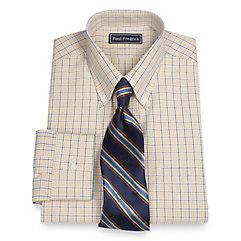 Trim Fit 2-Ply Cotton Check Button Down Collar Dress Shirt $65.00 AT vintagedancer.com