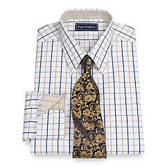 Trim Fit 2-Ply Cotton Satin Grid Straight Collar Dress Shirt $80.00 AT vintagedancer.com