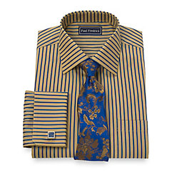 2-Ply Cotton Satin Stripe Spread Collar French Cuff Dress Shirt $65.00 AT vintagedancer.com