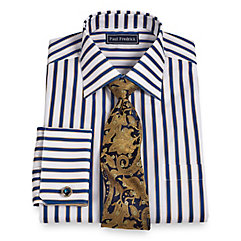 Trim Fit 2-Ply Cotton Shadow Stripe Straight Collar French Cuff Dress Shirt $65.00 AT vintagedancer.com