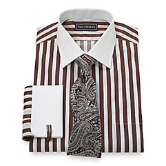 Trim Fit 2-Ply Cotton Bold Satin Stripe Spread Collar French Cuff Dress Shirt $30.00 AT vintagedancer.com