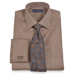 Trim Fit 2-Ply Cotton Herringbone Spread Collar French Cuff Dress Shirt $65.00 AT vintagedancer.com