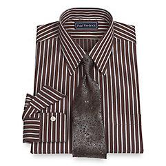 2-Ply Cotton Satin Stripe Straight Collar Dress Shirt $80.00 AT vintagedancer.com