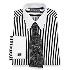 2-Ply Cotton Raised Satin Stripe Straight Collar French Cuff Dress Shirt $65.00 AT vintagedancer.com