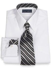 2-Ply Cotton Silk Trimmed Straight Collar Dress Shirt