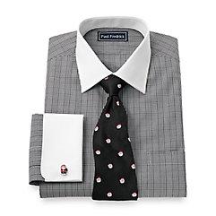 Trim Fit 2-Ply Cotton Glen Plaid Spread Collar French Cuff Dress Shirt $50.00 AT vintagedancer.com