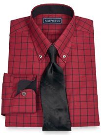 2-Ply Cotton Texture Windowpane Button Down Collar Dress Shirt