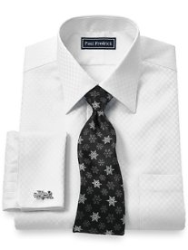 Trim Fit 2-Ply Cotton Satin Check Spread Collar French Cuff Dress Shirt