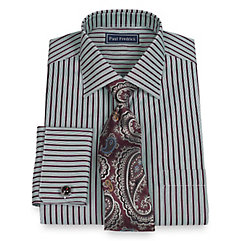 Trim Fit 2-Ply Cotton Satin Stripe Spread Collar French Cuff Dress Shirt $30.00 AT vintagedancer.com