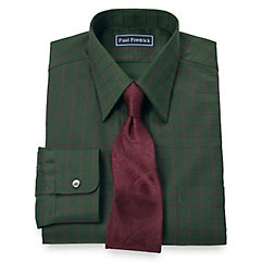 2-Ply Cotton Satin Rope Grid Straight Collar Dress Shirt $80.00 AT vintagedancer.com