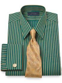 2-Ply Cotton Satin Stripe Straight Collar French Cuff Dress Shirt