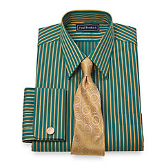 Trim Fit 2-Ply Cotton Satin Stripe Straight Collar French Cuff Dress Shirt $40.00 AT vintagedancer.com