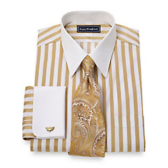 2-Ply Cotton Bold Satin Stripe Straight Collar French Cuff Dress Shirt $65.00 AT vintagedancer.com