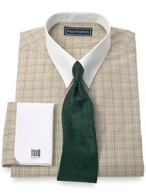 2-Ply Cotton Glen Plaid Button Tab Collar French Cuff Dress Shirt