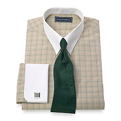 Trim Fit 2-Ply Cotton Glen Plaid Button Tab Collar French Cuff Dress Shirt $40.00 AT vintagedancer.com