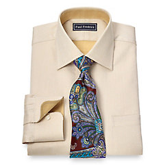 2-Ply Cotton Herringbone Spread Collar Dress Shirt $65.00 AT vintagedancer.com