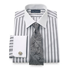 Trim Fit 2-Ply Cotton Bold Satin Stripe Spread Collar French Cuff Dress Shirt $65.00 AT vintagedancer.com