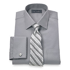Trim Fit 2-Ply Cotton Satin Grid Spread Collar French Cuff Dress Shirt $65.00 AT vintagedancer.com