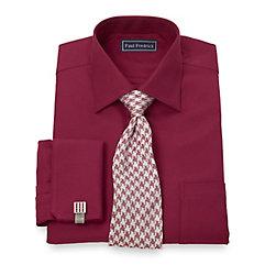 Trim Fit 2-Ply Cotton Diagonal Twill Spread Collar French Cuff Dress Shirt $80.00 AT vintagedancer.com