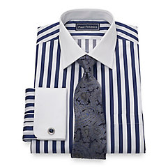 2-Ply Cotton Bold Satin Stripe Spread Collar French Cuff Dress Shirt $65.00 AT vintagedancer.com
