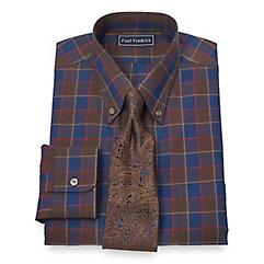 Trim Fit 2-Ply Cotton Large Windowpane Button Down Collar Dress Shirt $80.00 AT vintagedancer.com