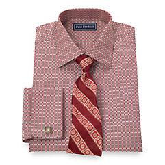 Trim Fit 2-Ply Cotton Satin Check Spread Collar French Cuff Dress Shirt $80.00 AT vintagedancer.com