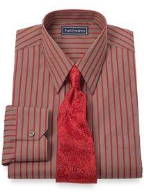 2-Ply Cotton Satin Stripe Straight Collar Dress Shirt