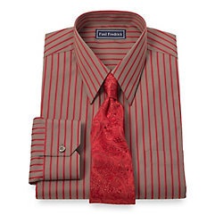 Trim Fit 2-Ply Cotton Satin Stripe Straight Collar Dress Shirt $65.00 AT vintagedancer.com