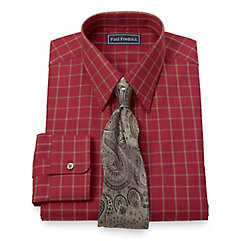 2-Ply Cotton Texture Windowpane Straight Collar Dress Shirt $80.00 AT vintagedancer.com