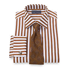 Trim Fit 2-Ply Cotton Shadow Stripe Spread Collar French Cuff Dress Shirt $65.00 AT vintagedancer.com