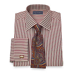 Trim Fit 2-Ply Cotton Satin Stripe Spread Collar French Cuff Dress Shirt $65.00 AT vintagedancer.com