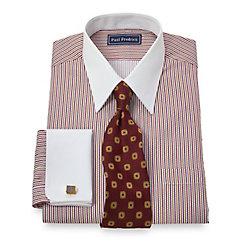 2-Ply Cotton Raised Satin Stripe Straight Collar French Cuff Dress Shirt $30.00 AT vintagedancer.com