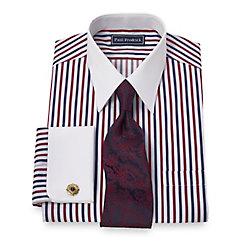 2-Ply Cotton Raised Satin Stripe Straight Collar French Cuff Dress Shirt $65.00 AT vintagedancer.com