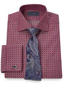 2-Ply Cotton Satin Check Spread Collar French Cuff Dress Shirt