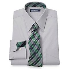 Trim Fit 2-Ply Cotton Silk Trimmed Straight Collar Dress Shirt $80.00 AT vintagedancer.com