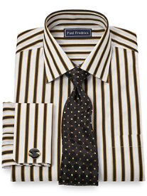 2-Ply Cotton Framed Stripe Spread Collar French Cuff Dress Shirt
