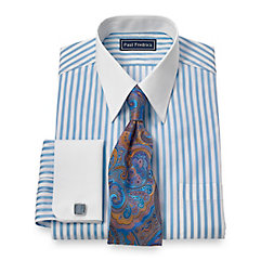 Trim Fit Egyptian Cotton Satin Stripe Straight Collar French Cuff Dress Shirt $60.00 AT vintagedancer.com