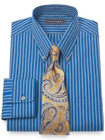 2-Ply Cotton Pinpoint Twin Stripe Button Down Collar Dress Shirt