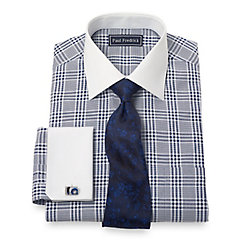 100 Cotton Glen Plaid Spread Collar French Cuff Dress Shirt $40.00 AT vintagedancer.com