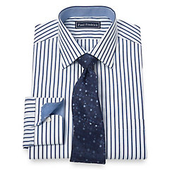 100 Cotton Alternating Stripe Spread Collar Dress Shirt $60.00 AT vintagedancer.com