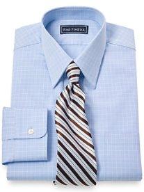 100% Cotton Grid Straight Collar Dress Shirt