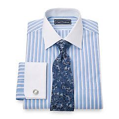 100 Cotton Bold Stripe Spread Collar French Cuff Dress Shirt $60.00 AT vintagedancer.com