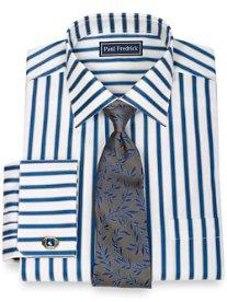 2-Ply Cotton Shadow Stripe Spread Collar French Cuff Dress Shirt