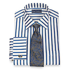 1920s Style Mens Shirts 2-Ply Cotton Shadow Stripe Spread Collar French Cuff Dress Shirt $80.00 AT vintagedancer.com