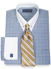 100% Cotton Glen Plaid Eyelet Collar French Cuff Dress Shirt